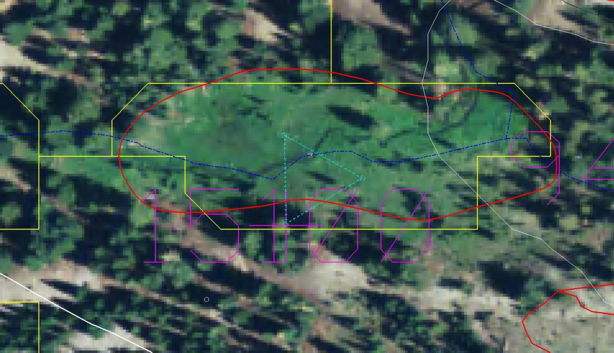Example of vector output from aerial photo interpretation (red), the Discrete Classification Methodology (yellow), and the vegetation sampling triangular transect (turquoise).