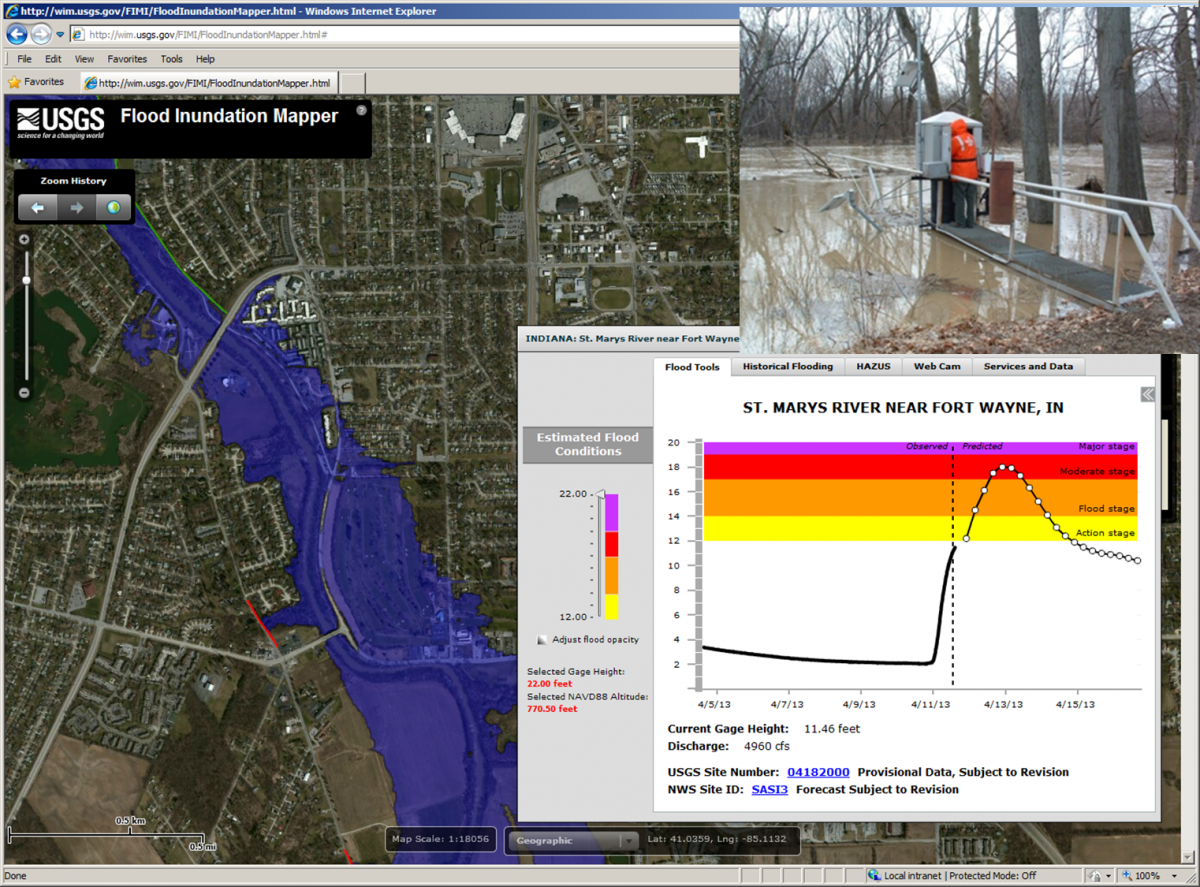 Screenshot of the USGS Flood Inundation Mapper showing flood maps tied to the St. Marys River near the Fort Wayne, Indiana, streamgage (streamgage pictured upper right).