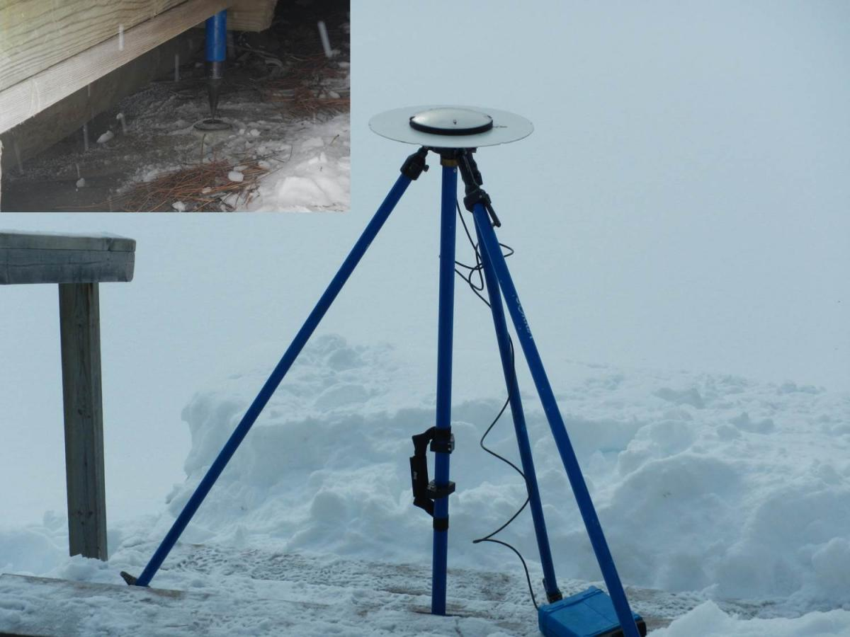 The RTK GPS used to measure elevation, set up on the benchmark at Kettle Falls, Minnesota.