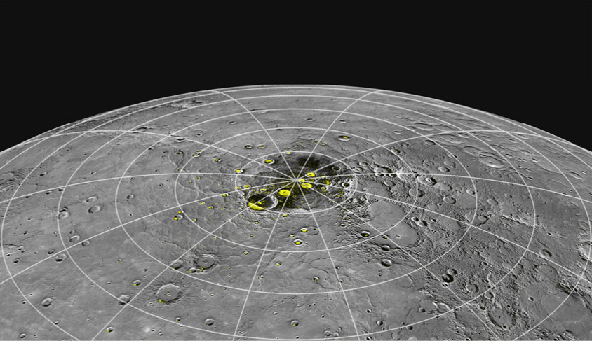 This image, prepared using the ISIS 3 software system developed by the USGS Astrogeology Science Center illustrates capabilities of the data fusion software.  This image shows radar bright areas near Mercury's North Pole (yellow) overlain on a mosaic of images from the Mercury Dual Imaging System on the MESSENGER spacecraft. The image was released as part of a NASA press conference on November 29, 2012.