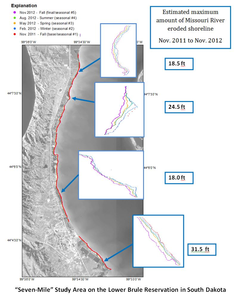 Monitoring shoreline erosion using seasonal Real-Time Kinematic satellite navigation data collections.
