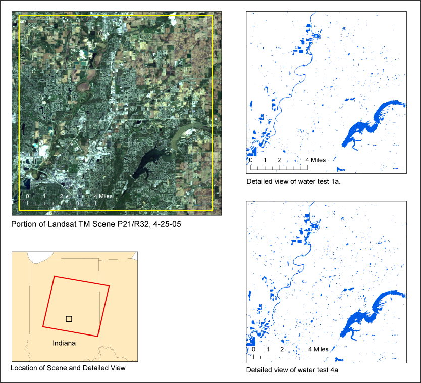 The USGS is developing methods to map surface water extent from any Landsat TM or ETM+ scene in the archive. Here, results from two different methods are provided for one of the 35 test areas selected across the North American continent, Hawaii and Puerto Rico.