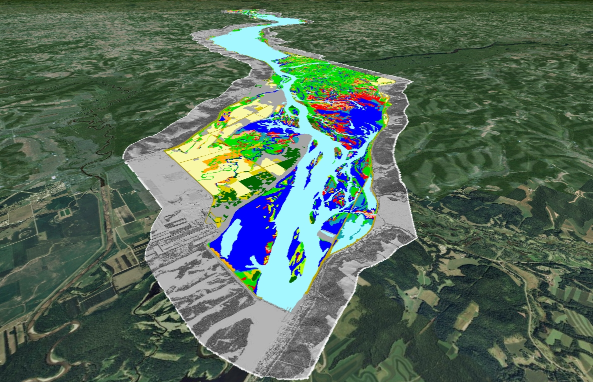 Example of Upper Mississippi River System's Navigation Pool 4 land cover/land use and hillshade data viewed using Google Earth (view is looking northwest).