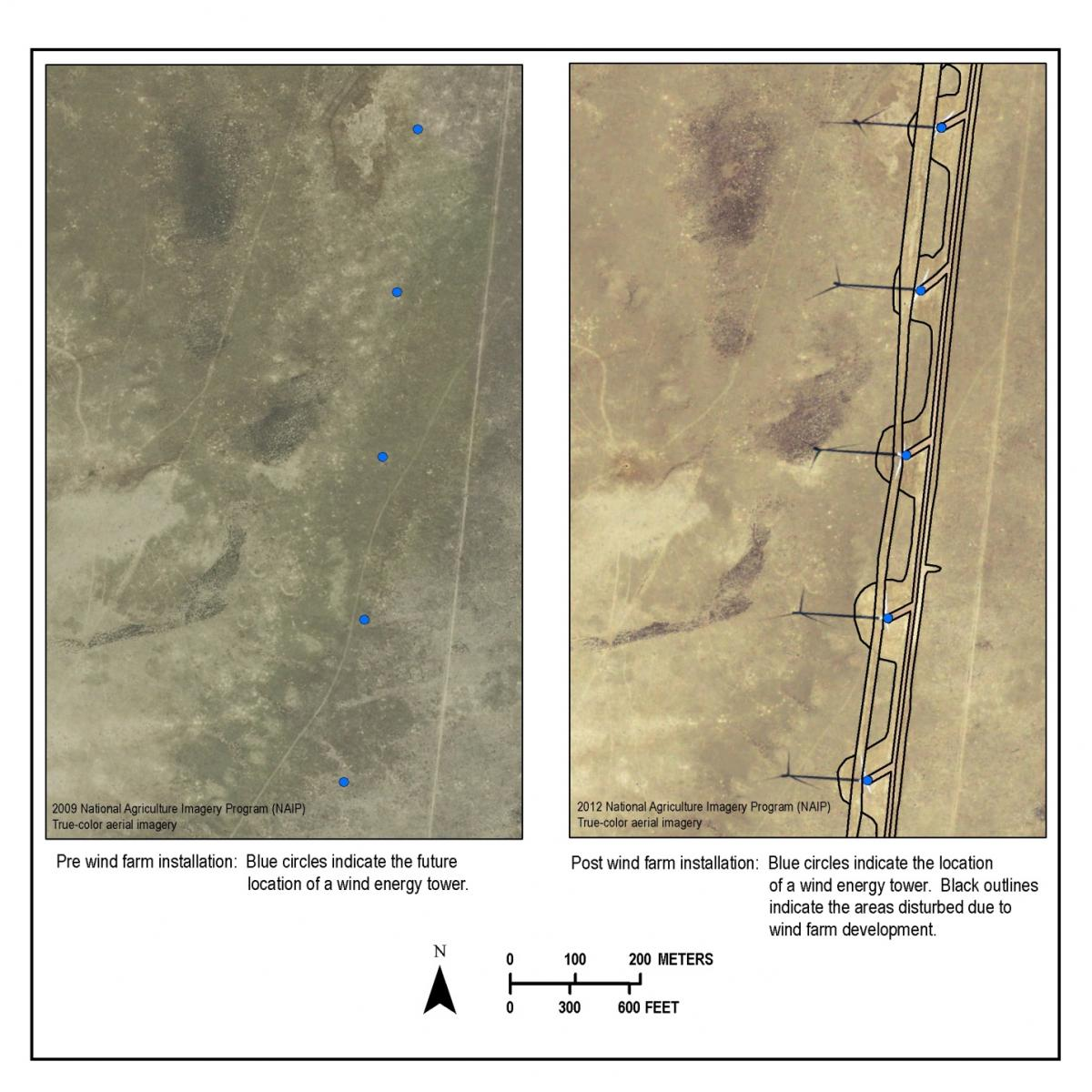 Wind farm sites before and after installation.  Disturbance types include new roads, widening of existing roads, substations, above and below ground utility lines, meteorological stations, communication towers, and wind tower pads.