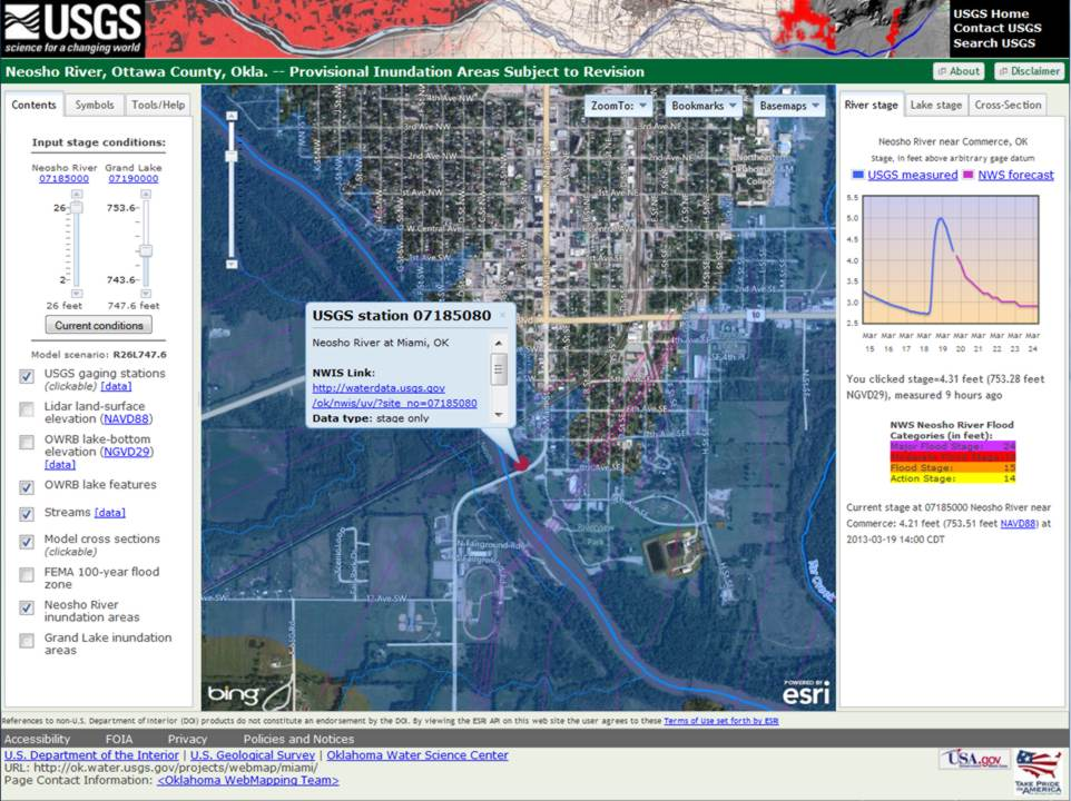 Screen capture of the pilot flood inundation Internet mapping interface used to quickly identify areas in the City of Miami, Oklahoma, that are vulnerable to flooding.