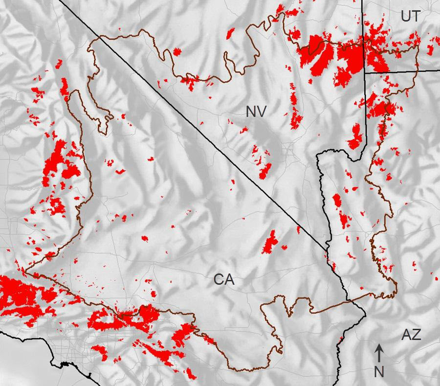 Historical burn mapping for the Mojave bioregion and surrounding areas located in California, Nevada, Utah and Arizona.  Fire areas for the period 1972 to 2007 are colored red.  The Mojave bioregion boundary is dark brown, roads are light gray, and State boundaries are black.