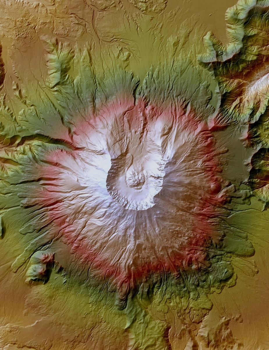 High-resolution image of Mount St. Helens, Washington, produced from lidar.