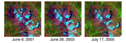 The snow covered area (SCA) downscaling technique capitalizes on the consistency of SCA patterns across years despite wide variability in snowmelt timing. The red squares represent 500-meter MODIS pixels overlain on Landsat imagery.
