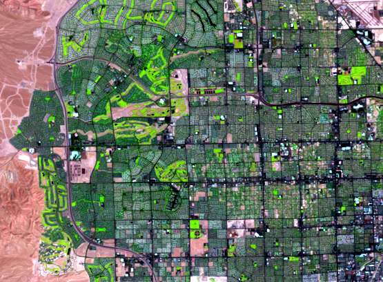 Aug. 11, 2010, Landsat 5 (path/row 39/35) — western Las Vegas, Nevada, USA
