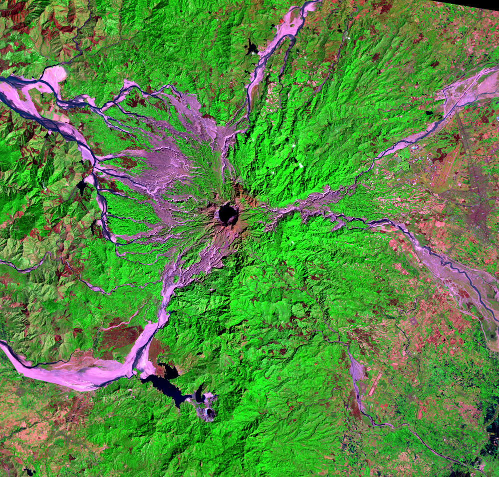 Feb. 14, 1999, Landsat 5 (path/row 116/50) — Mount Pinatubo, Philippines