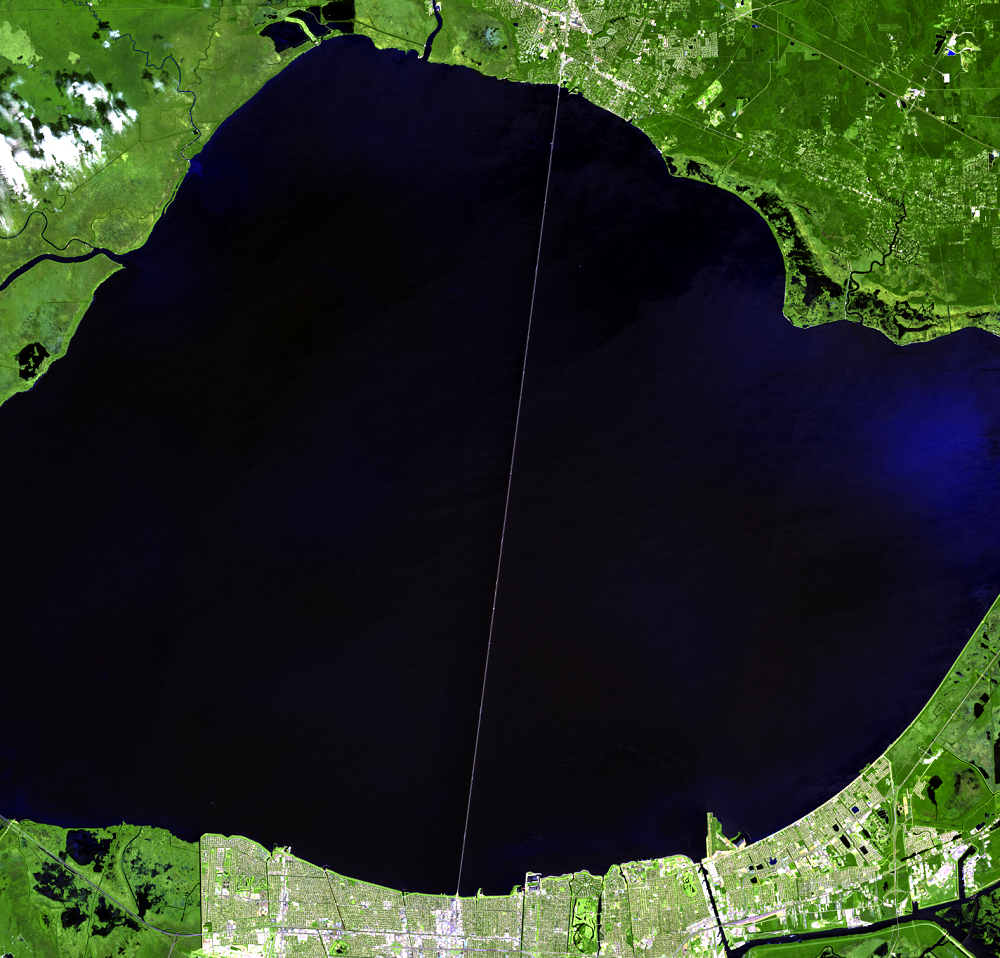 Aug. 29, 2019, Landsat 8 (path/row 22/39) — causeway over Lake Pontchartrain, Louisiana