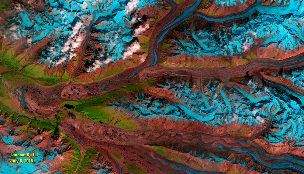 July 8, 2018, Landsat 8, OLI — Chitina River Valley, Alaska, USA