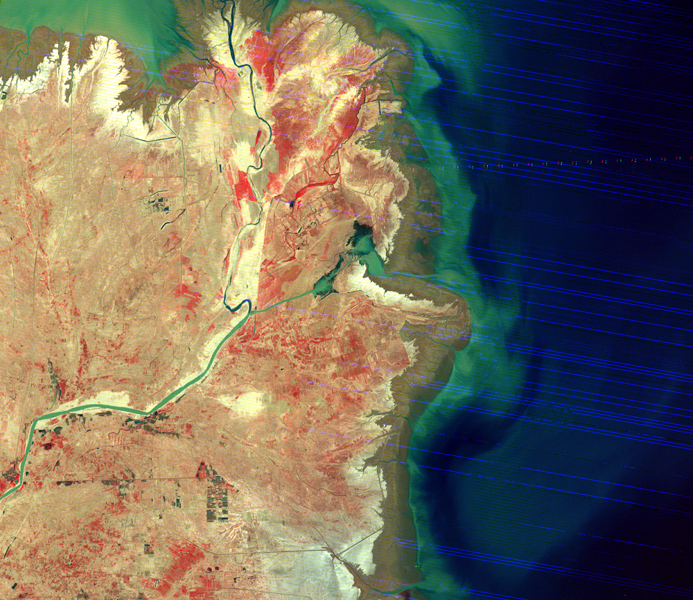 June 2, 1976, Landsat 2 (path/row 130/34) — Huang He Delta, China