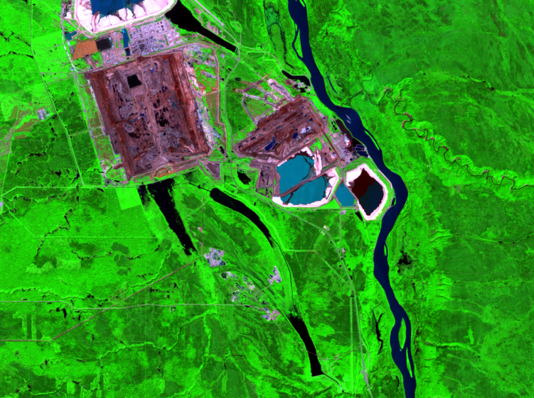 Aug. 6, 1989, Landsat 5 (path/row 42/20) — mining and reclamation, Athabasca Oil Sands, Alberta, Canada