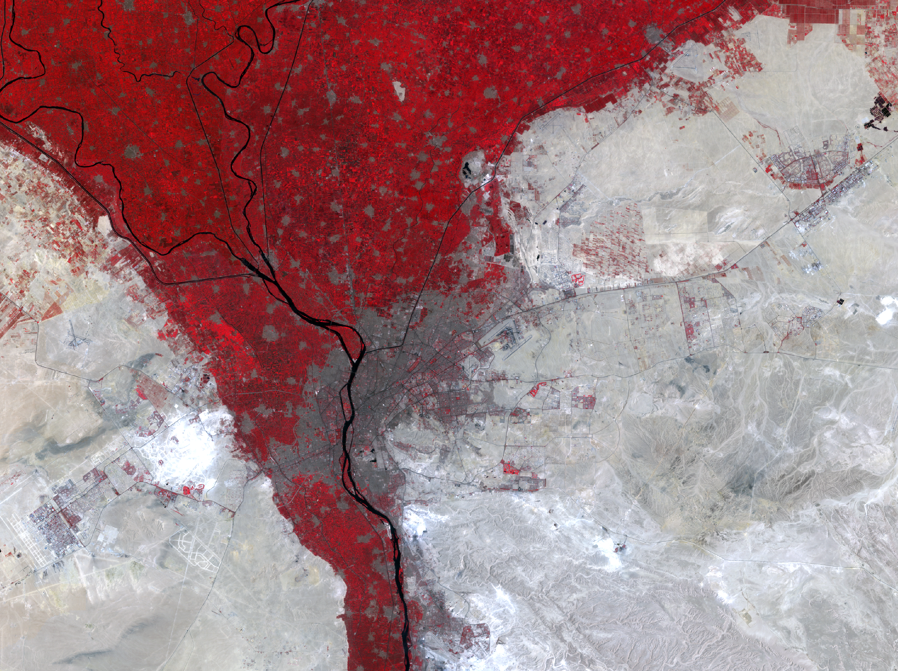 July 23 and 30, 2003, Landsat 5 (path/row 176,177/39) — Cairo, Egypt