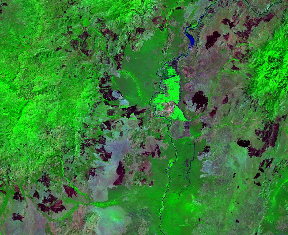 Jan. 3, 2015, Landsat 8 (path/row 170/56) — Sugar plantations, lower Omo River Valley, Ethiopia