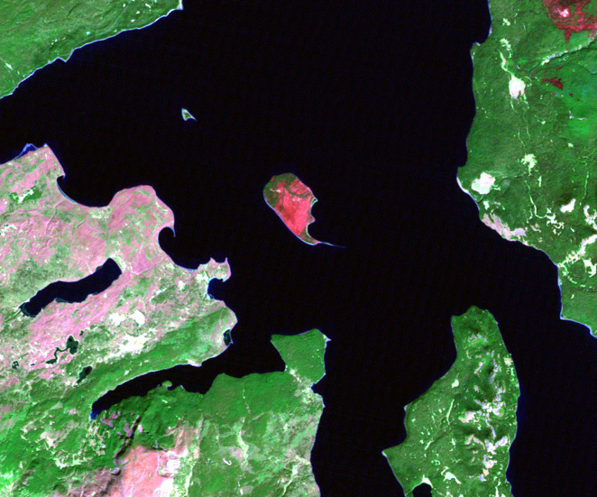 Oct. 4, 2003, Landsat 5 (path/row 38/29) — Frank Island in Yellowstone Lake at Yellowstone National Park, USA