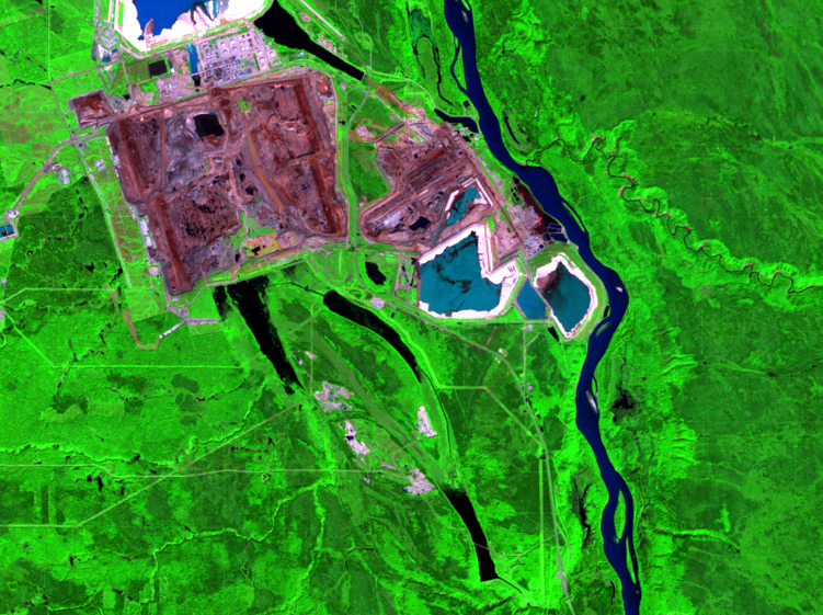 Aug. 17, 1993, Landsat 5 (path/row 42/20) — mining and reclamation, Athabasca Oil Sands, Alberta, Canada