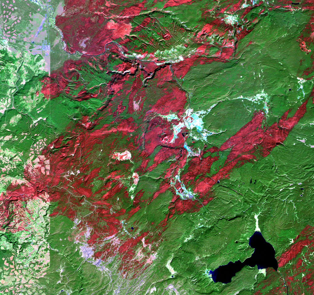 Oct. 10, 1988, Landsat 5 (path/row 38/29) — Location of Old Faithful at Yellowstone National Park, USA