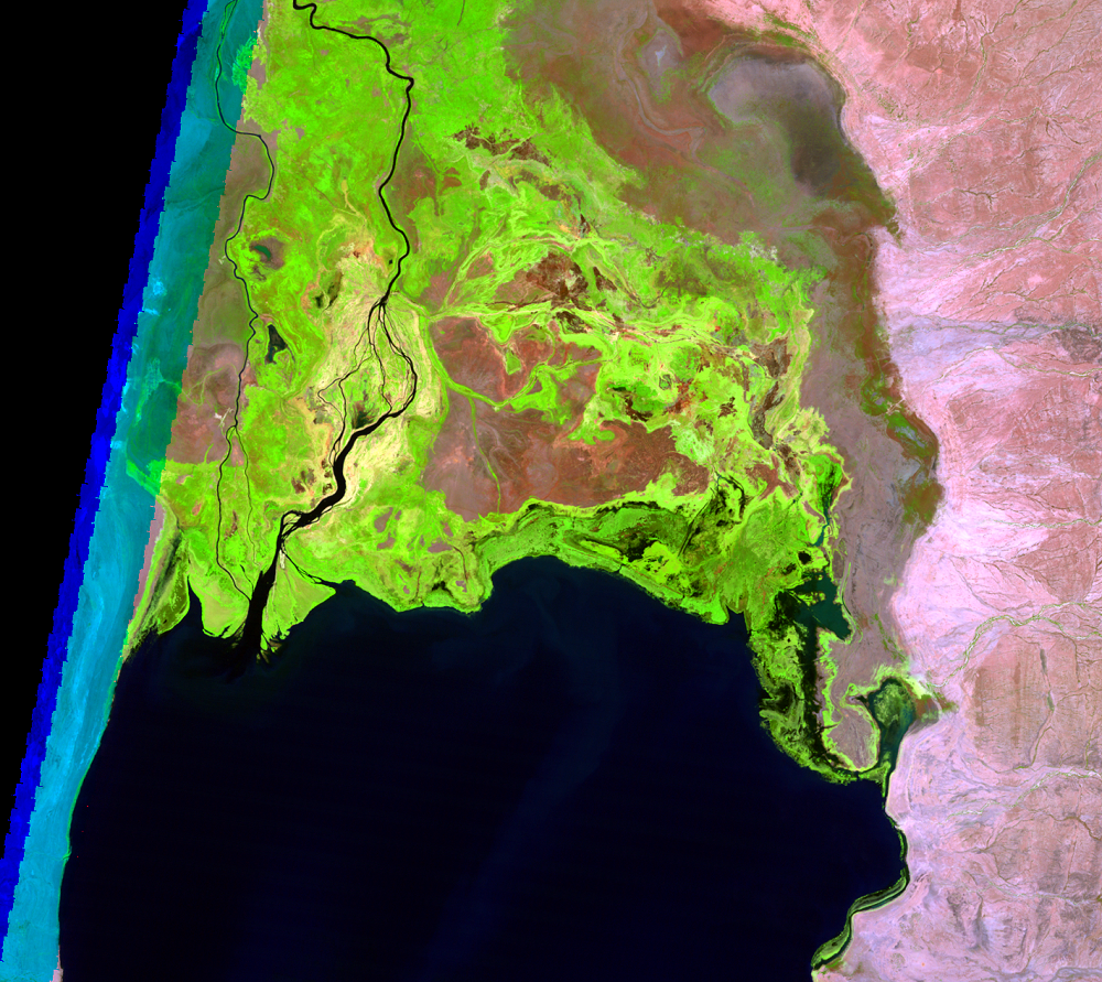 Feb. 6, 1995, Landsat 5 (path/row 169/57) — Omo River Delta, Kenya and Ethiopia