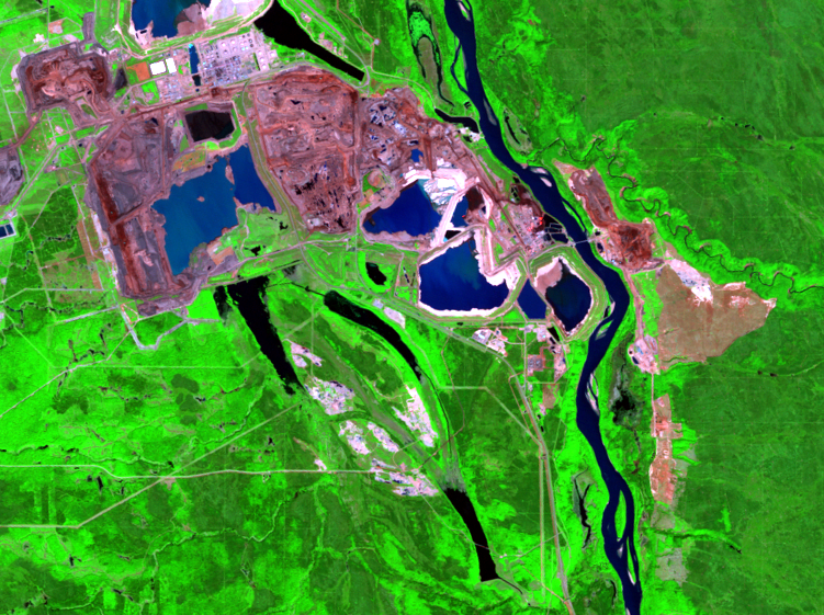 June 15, 1999, Landsat 5 (path/row 42/20) — mining and reclamation, Athabasca Oil Sands, Alberta, Canada