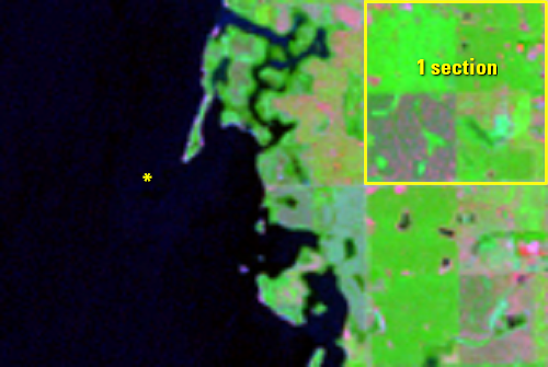 July 14, 2002, Landsat 5 (path/row 29/29) — Lake Thompson, South Dakota, USA