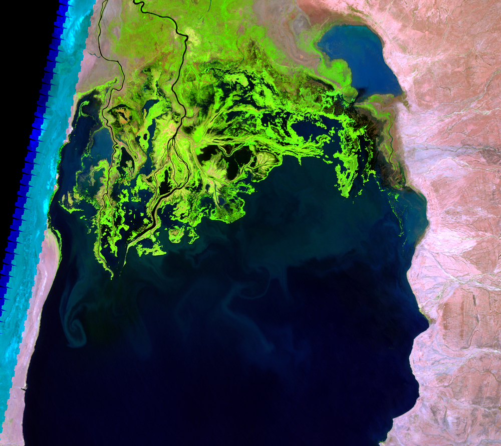 Feb. 12, 2000, Landsat 7 (path/row 169/57) — Omo River Delta, Kenya and Ethiopia