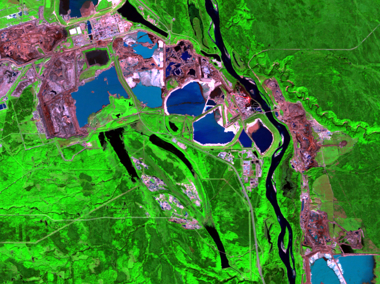 Sep. 11, 2002, Landsat 5 (path/row 42/20) — mining and reclamation, Athabasca Oil Sands, Alberta, Canada