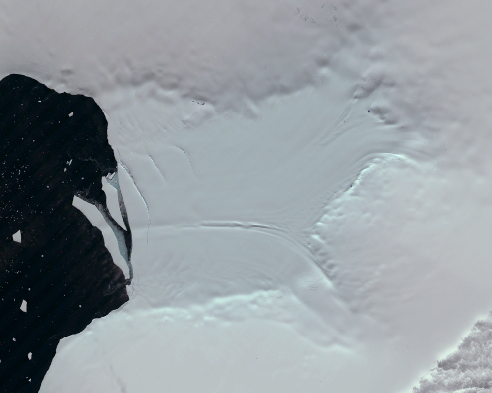 Jan. 29, 1990, Landsat 4 (path/row 219/111) — Verdi Ice Shelf, Antarctica