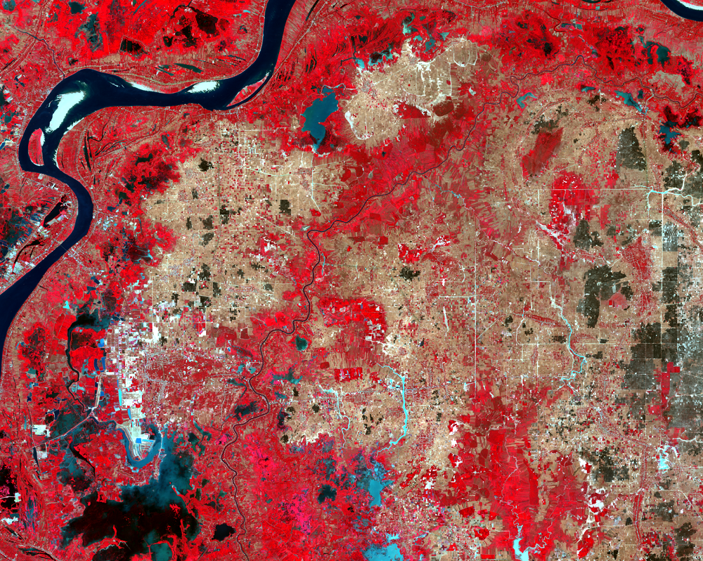 Jan. 13, 2020, Landsat 8 (path/row 126/52) — Irrigation canals east of Phnom Penh, Cambodia