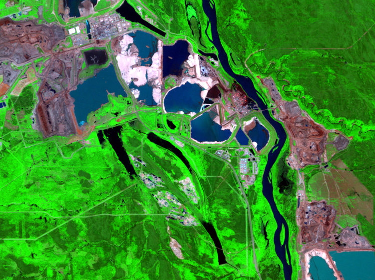 June 28, 2004, Landsat 5 (path/row 42/20) — mining and reclamation, Athabasca Oil Sands, Alberta, Canada