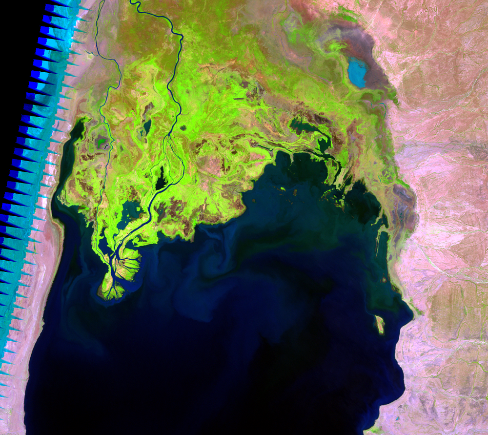 Feb. 4, 2003, Landsat 7 (path/row 169/57) — Omo River Delta, Kenya and Ethiopia