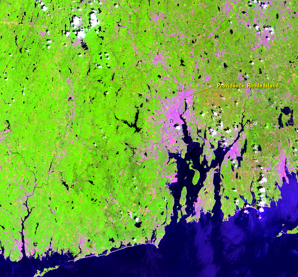 July 11, 2015, Landsat 8 (path/row 12/31) — gypsy moth infestation near Providence, RI, USA