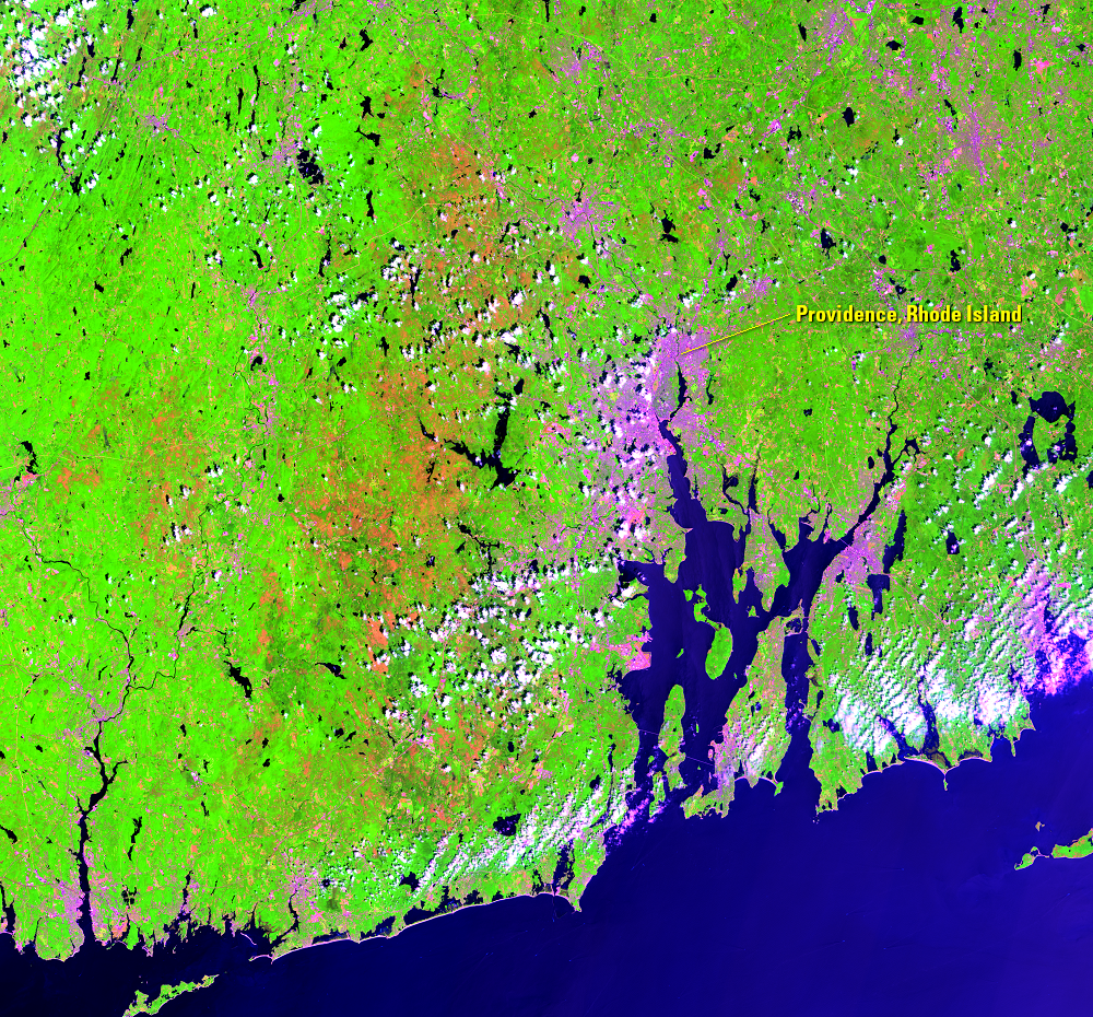 July 13, 2016, Landsat 8 (path/row 12/31) — gypsy moth infestation near Providence, RI, USA