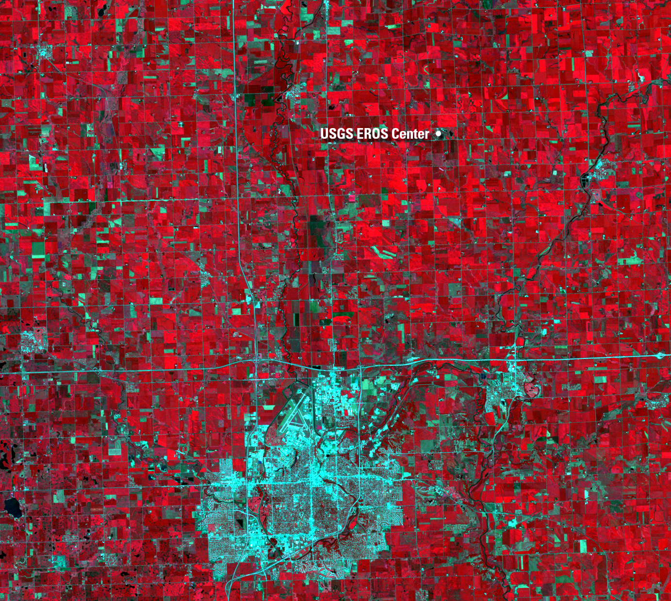 July 19, 1998, Landsat 5 (path/row 29/30) — One year after the hailstorm, near Sioux Falls, SD, USA