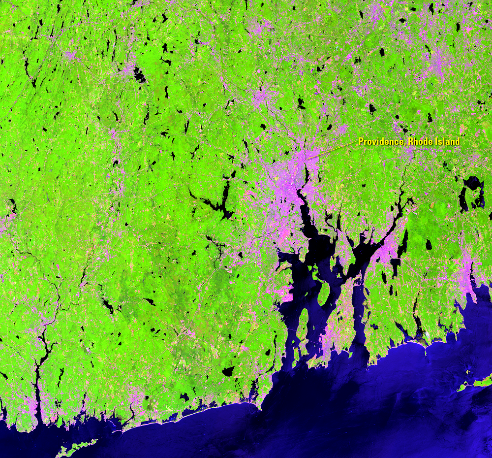 July 19, 2018, Landsat 8 (path/row 12/31) — gypsy moth infestation near Providence, RI, USA