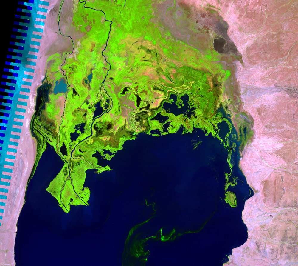 Jan. 17, 2011, Landsat 5 (path/row 169/57) — Omo River Delta, Kenya and Ethiopia