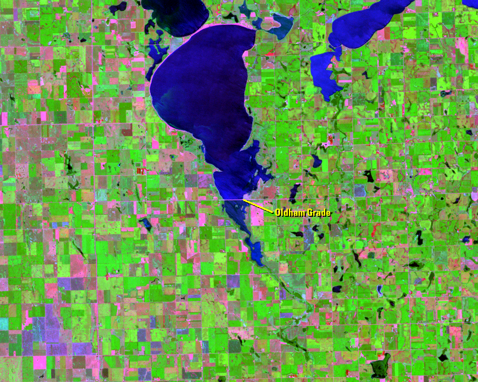 July 21, 2008, Landsat 5 (path/row 30/29) — Lake Thompson, South Dakota, USA