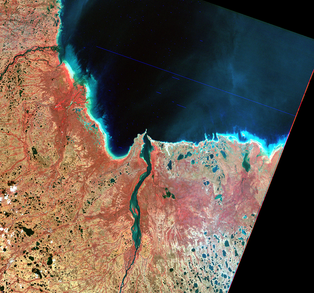 Aug. 14, 1973, Landsat 1 (path/row 35/19) — Knife River Delta, Canada