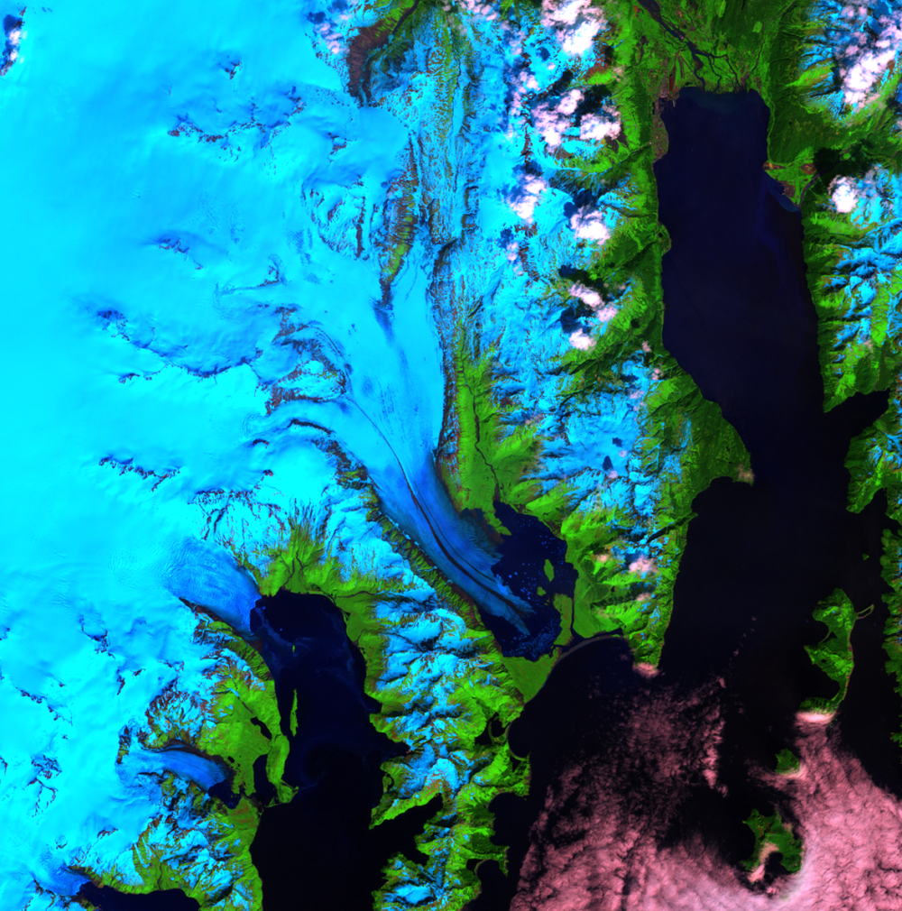 July 1, 2000, Landsat 7 (path/row 68/18) — Bear Glacier, Alaska, USA