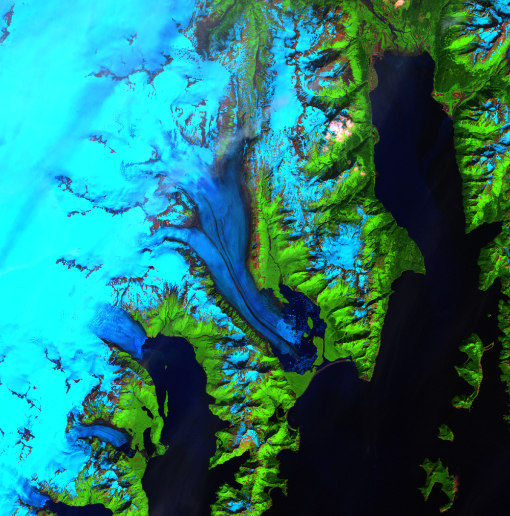 Aug. 5, 2001, Landsat 7 (path/row 68/18) — Bear Glacier, Alaska, USA
