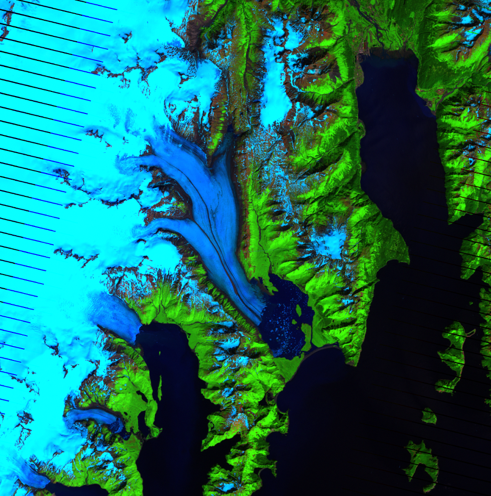 July 21, 2007, Landsat 7 (path/row 68/18) — Bear Glacier, Alaska, USA