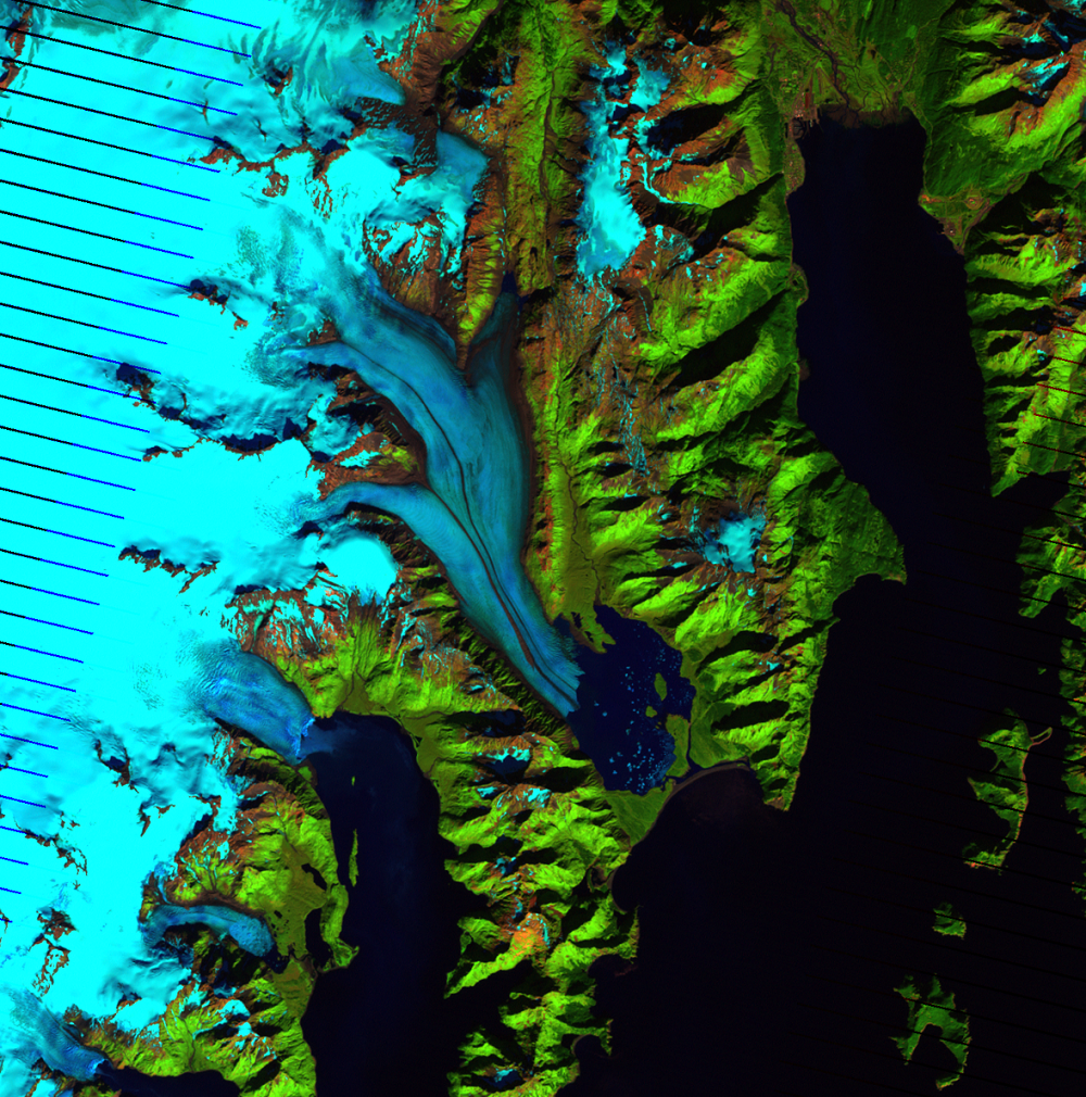 Sep. 15, 2010, Landsat 7 (path/row 68/18) — Bear Glacier, Alaska, USA