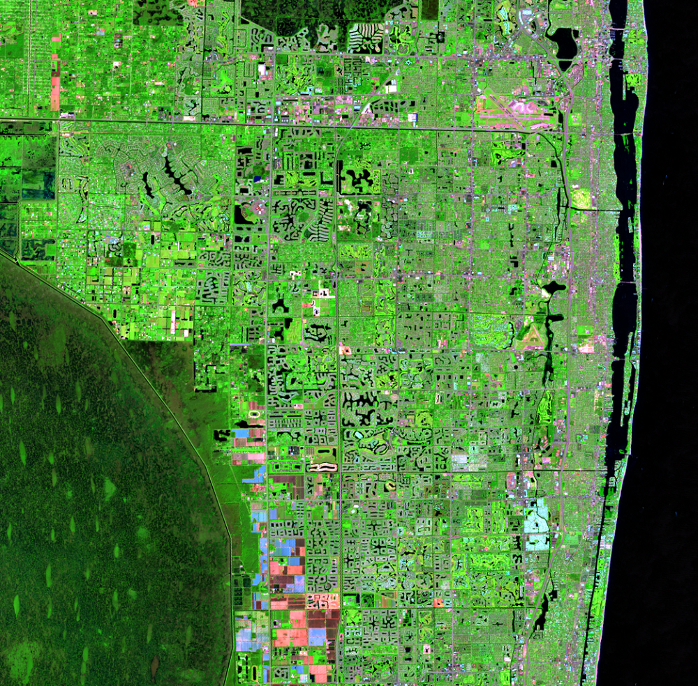 Oct. 22, 2016, Landsat 8 (path/row 15/42) — Residential suburban areas north of Miami, Florida, USA