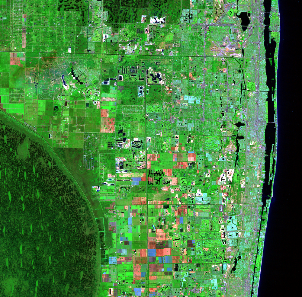 Nov. 2, 1985, Landsat 5 (path/row 15/42) — Residential suburban areas north of Miami, Florida, USA