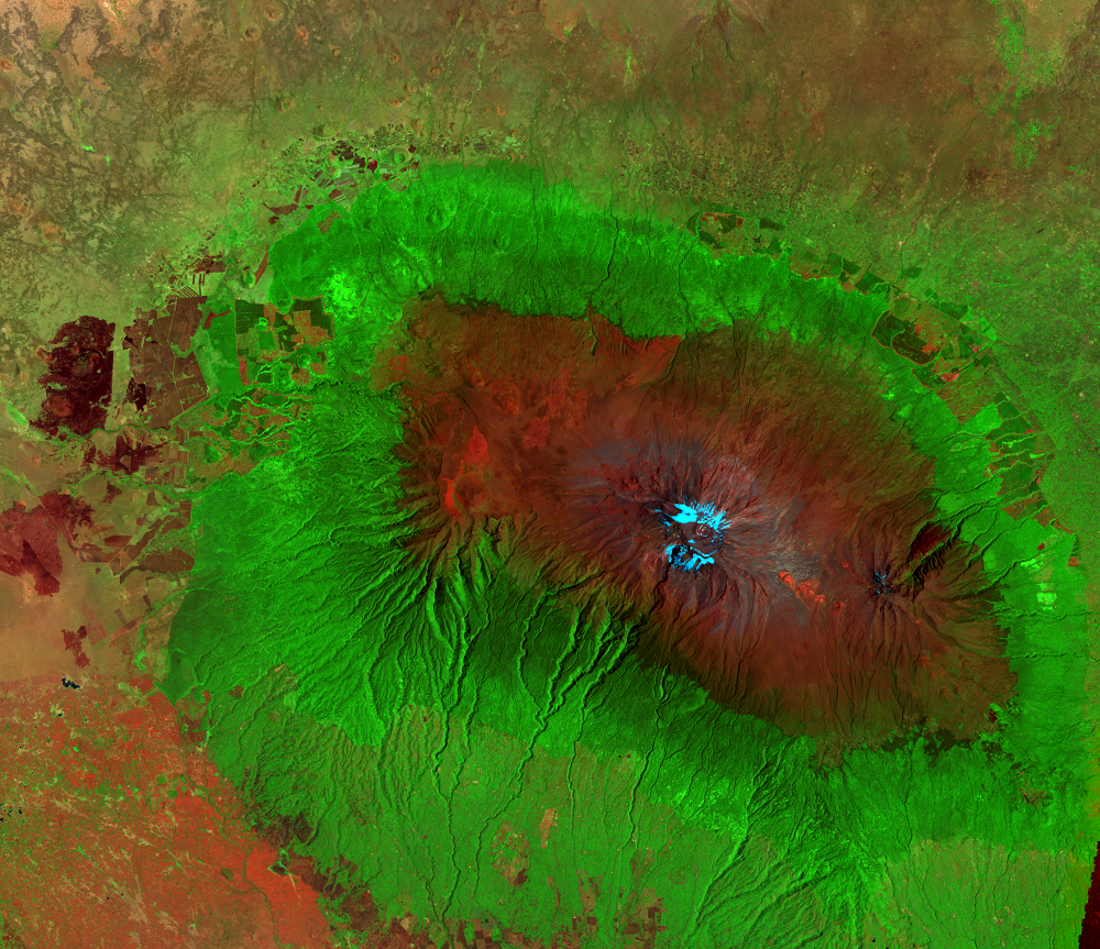 Feb. 21, 2000, Landsat 7 (path/row 168/62) — Mount Kilimanjaro, Tanzania