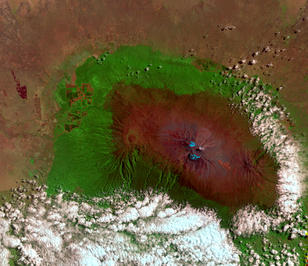 Aug. 19, 2010, Landsat 5 (path/row 168/62) — Mount Kilimanjaro, Tanzania
