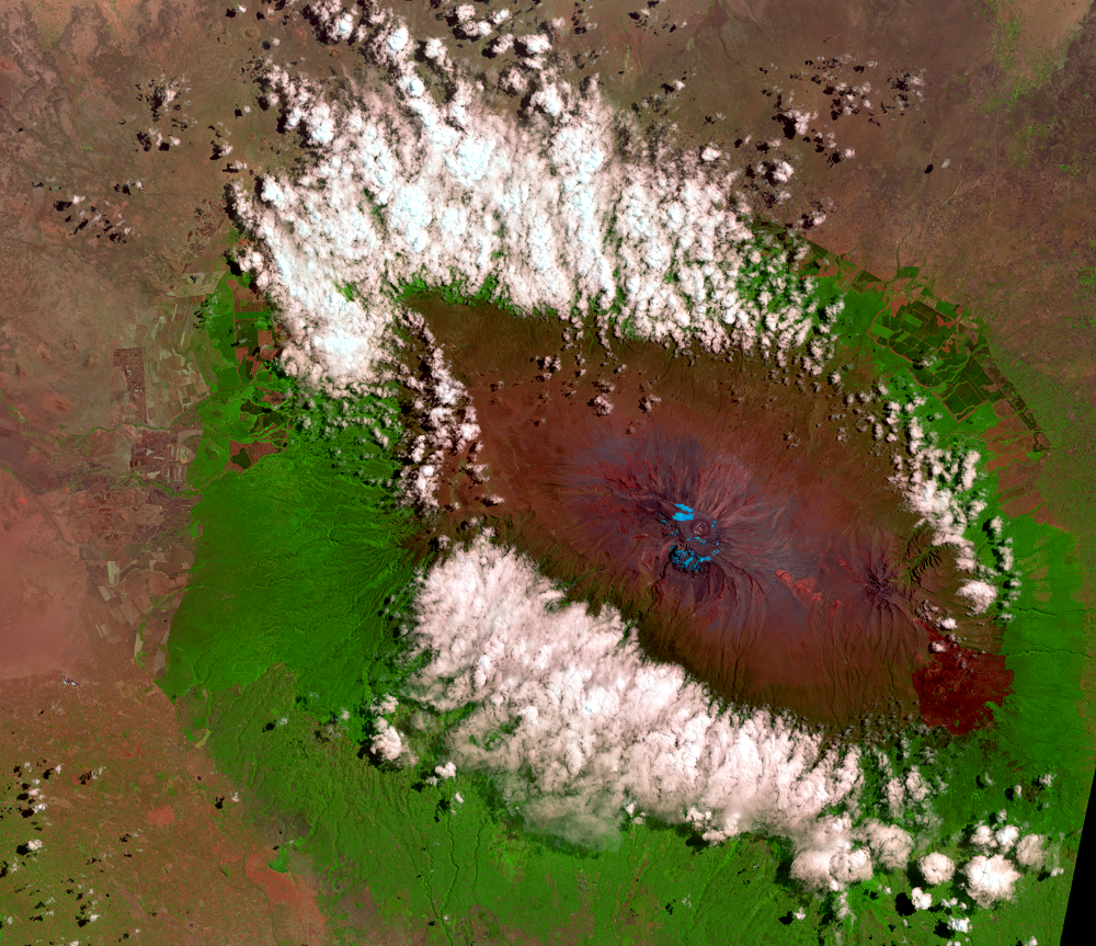 Aug. 27, 2013, Landsat 8 (path/row 168/62) — Mount Kilimanjaro, Tanzania