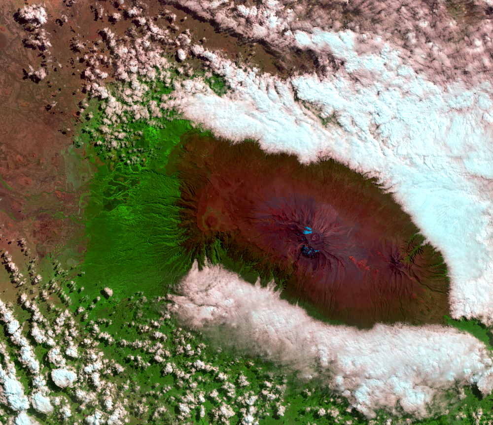 July 27, 2019, Landsat 8 (path/row 168/62) — Mount Kilimanjaro, Tanzania