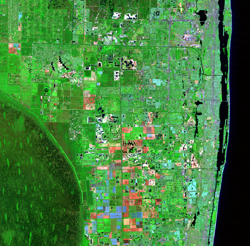 Oct. 7, 1987, Landsat 5 (path/row 15/42) — Residential suburban areas north of Miami, Florida, USA